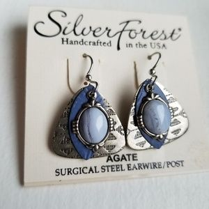 Silver Forest Agate earrings NWT